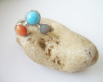 Silver ring Sumertime ooak with orange coral, blue turquoise and opal