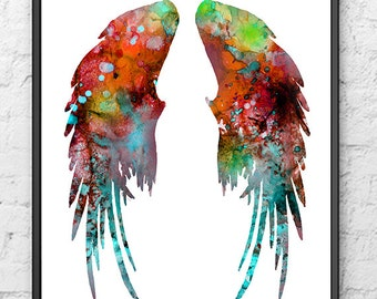 Angel Wings Art Print - Colorful Watercolor Painting - Feather Art, home decal - 406