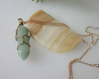 Green Aventurine Necklace, Gemstone Point Jewelry, Semi-precious Stone, Double Terminated Point, Natural Stone Jewelry, Gemstone Jewelry