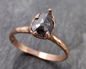 Fancy cut Salt and pepper Solitaire Diamond Engagement 14k Rose Gold Wedding Ring byAngeline 1087
