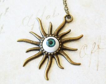 Green Eyeball Necklace, Halloween Necklace,Creepy Jewelry, Chunky Jewelry, Scary Jewelry, Halloween Gift