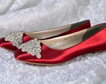 Color Wedding Shoes -Flats, Crystals and Beads, Women's Bridal Shoes, Pink2Blue
