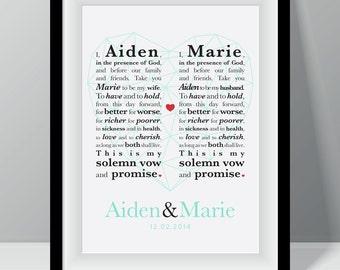 Wedding Anniversary Couple Vows Wall Art Print