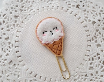 Cute Ice cream Feltie Embroidered Decorative Planner Clip, Bookmark or Page Marker