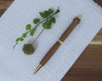 Ball Point Pen - Hand Turned Wood - Mesquite - Black Ink Cartridge