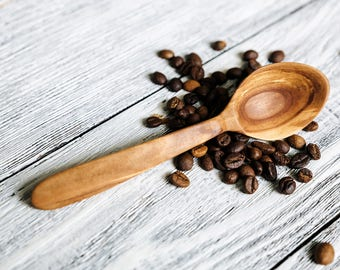 Hand carved wooden measuring spoon made whis apple wood Coffee Wooden spoon Wood spoon Wooden coffee scoop Carved spoon Hand carved spoon