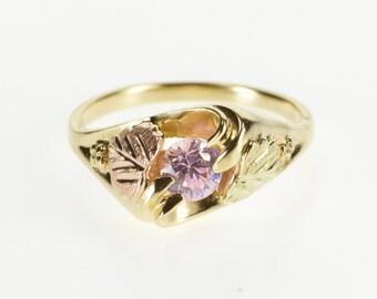 10K Black Hills Pink Cubic Zirconia Wavy Freeform Ring Size 7 Yellow Gold