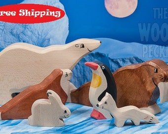 Free Shipping! Wooden Animal toys set, arctic, POLAR Set, Sea Ox, Bear, Fox, Rabbit, Bio Toy, Zoo, Toys for Kids