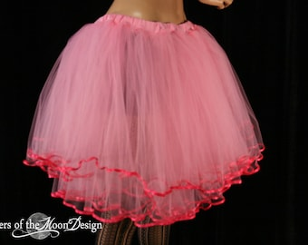 Adult tutu tulle skirt Paris little frills hot pink trimmed layered dance ballet style tutu knee length - All Sizes - Sisters of the Moon