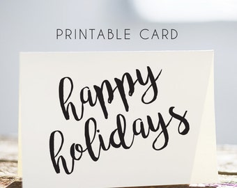 christmas card, whimsical rustic card, happy holidays card, printable christmas card, happy holidays printable