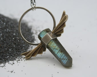 Winged Halo pendant - Bronze and Silver with Labradorite