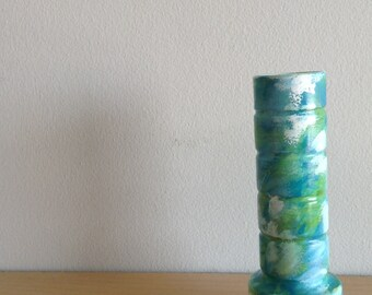 Blue, White, and Green Painted Vase, Ceramic Abstract Painted Vase