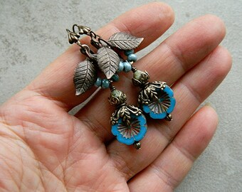 Blue Romantic Flower Earrings, Vintage Style, Bohemian Floral Dangle Earrings, Woodland Earrings, Blue in Vintage Patina