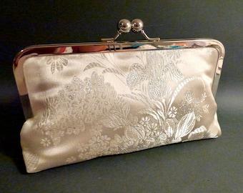 Bridal Clutch |Wedding Clutch | Ivory | Oriental Brocade Satin