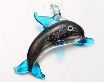 Handmade Lampwork Glass Dolphin Pendant -  Teal- Sold Individually