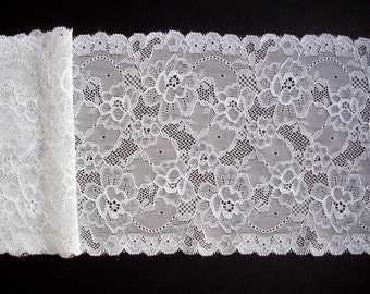 1.9 m / 2.08 yd, wedding lace, white lace trim, stretch floral lace, table runner lace, scalloped edge, elastic lace trim, lingerie lace