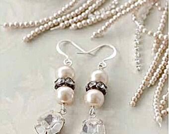Pearl & Crystal Bridal Earrings, Pearl Bridesmaid Earrings, Crystal Bridesmaid Earrings, Pearl Rhinestone Bridal Earrings, Choose Color