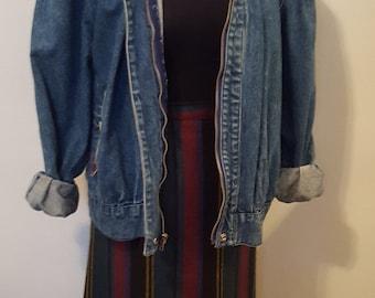 Vintage High Waist Plaid-Style Mini Skirt W/ Back Pleats