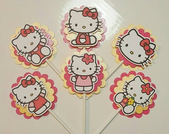 Hello Kitty Cupcake Toppers, Hello Kitty Birthday Party. Set of 12