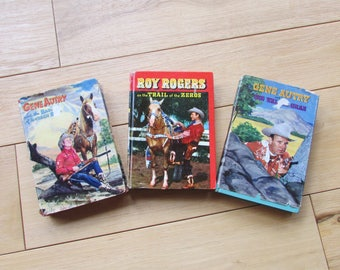 Gene Autry and Roy Rogers Vintage 1950's Collectable Books Set of 3