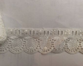 Lace of white eyelet with 5 cm in width