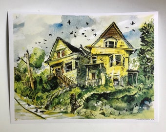 Abandoned Victorians | Seattle Watercolor Illustration Art Print | 8.5 x 11 or 9 x 12