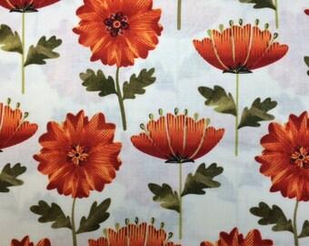 Kanvas LEAF INTO AUTUMN (White) 100% Cotton Premium Fabric - sold by 1/2 yard
