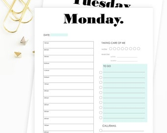 Day Planner Pages, PDF Daily Planner Pages, US Letter, A4 and A5 Sizes Available, Daily Planner Printable, 7 Day Planner, Printable Planner