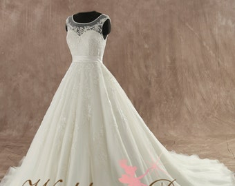 Stunning Fairytale Wedding Dress with illusion neckline Custom Made to your Measurements