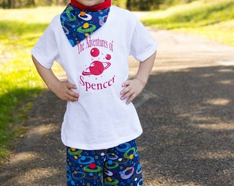 Summer Shorts for Boys - Outer Space Party - Camp T Shirts - Toddler Summer Outfit Boy - Blue Shorts Set - Summer Tees -  6 mos to 8 yrs