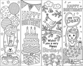 4 Printable Birthday Coloring Bookmarks; Birthday Gift Bookmarks; Digital download bookmark templates