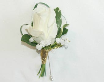 Real Touch Rose Boutonniere /  Rose Boutonniere / Artificial Rose Boutonniere / Silk Rose Boutonniere / White Rose Boutonniere / White Rose