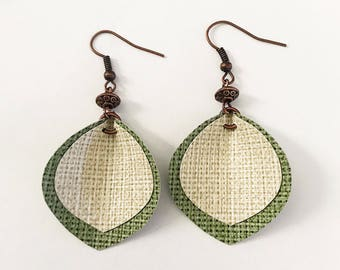 Recycled Vinyl Leaf Earrings - Green, Cream & Copper