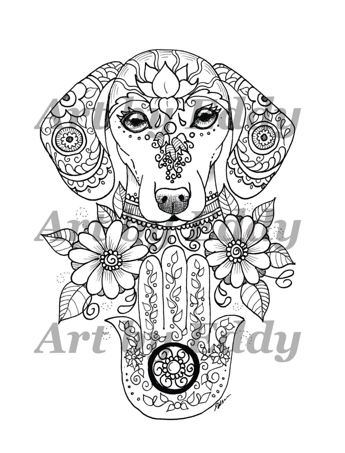 Art of Dachshund Single Coloring Page Hamsa Palm Doxie