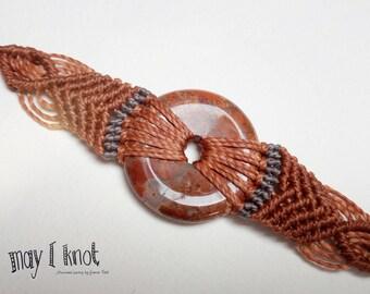 Macrame bracelet Brown with red/brown Jasper
