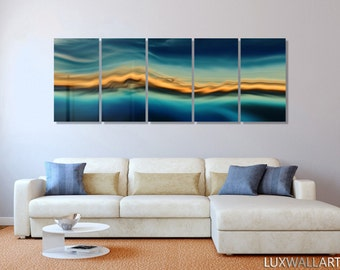 Large Abstract Metal Wall Art Decor Sandy Blue Wave