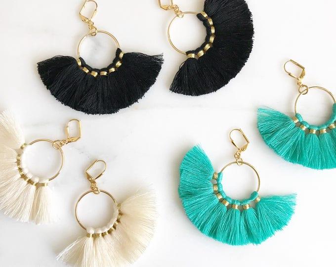 Fan Tassel Earrings.  Black Ivory or Turquoise Tassel Earrings. Chandelier Earrings. Tassel Dangle Earrings.  Statement Earrings. Jewelry.