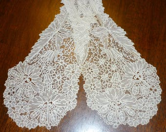 EXTRAORDINARY Antique DUCHESSE Point De Gaze Lace LAPPET..Handmade...Raised Detail  Needle Lace...Lace Collector