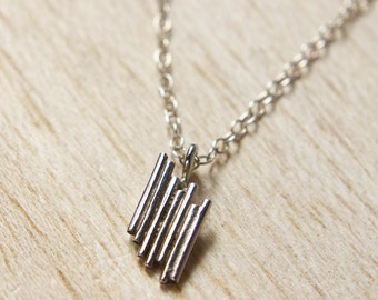 Silver Graph Necklace, Contemporary Necklace, Minimal Silver Pendant, Line Graph Pendant, Bar Chart Jewellery,