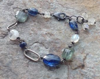 Moss AQUAMARINE bracelet, KYANITE bracelet, Moonstone bracelet, sterling silver bracelet
