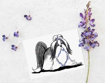 Shih Tzu Black & White Dog Breed Art Original ACEO Drawing