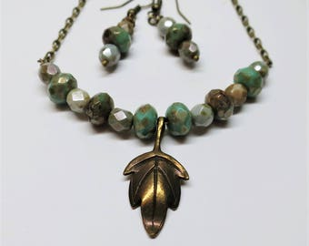 Bronze Leaf Beaded Necklace and Earring Set, Czech Fire Polished Turquoise Lustre Picasso Glass Beads, Beaded Jewelry, Mother's Day Gift