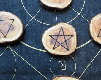 English Yew Wood Elemental Altar Set - Quarter Markers - For a Pagan or Wiccan Altar - Witchcraft, Ogham Tree