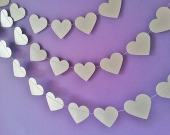 PLATA forro papel corazones Garland -, compromiso, boda, ducha, decoración de habitaciones