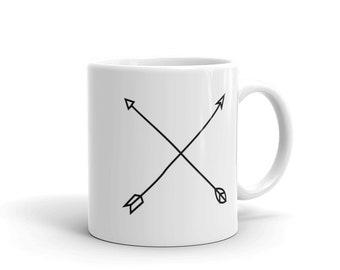 arrows mug, tribal cup, crossed arrows, line art arrows, minimalist arrows