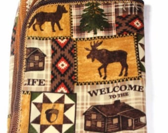Crochet Edge Welcome To The Cabin Country Rustic Large Fleece Throw Blanket
