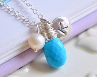 Real Turquoise Necklace, Sterling Silver, Personalized Initial, Tweens and Teens, Genuine Birthstone, Gemstone Jewelry, Freshwater Pearl