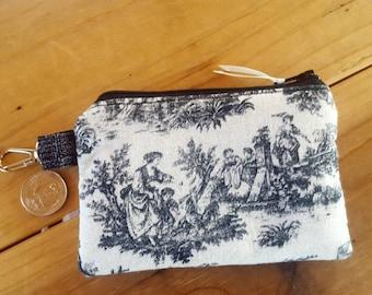 Toile Coin Purse, Ladies Zipper Wallet, Change Purse, Earbud Pouch, Change Purse, Tolle Zipper Bag, credit card pouch