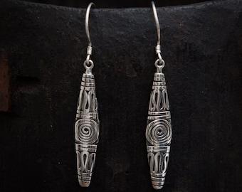 Silver Earrings, Silver Drops, Balinese Earrings, Long Earrings, Boho Earrings, Oxidised Silver, Sterling Silver, 925