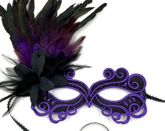 masquerade mask, masquerade mask with flower, a purple gems and  purple feathers, lace purple and black masquerade mask